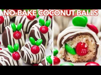 Christmas Coconut Balls | No-Bake Chocolate Coconut Candy