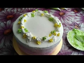 Украшение торта БЗКкремом.Цветочный венок на торте.Flower wreath on the cake.